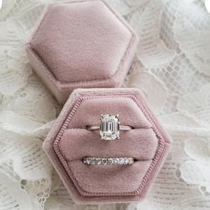 Jewelry - Velvet Ring Box Pink Hexagon Wedding & Engagement